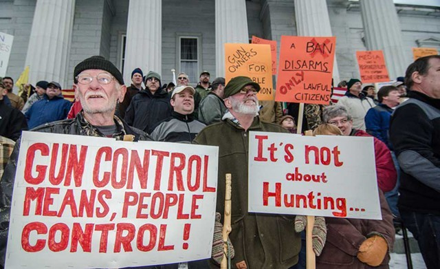 Gun rights supporters in front of the Vermont Statehouse - FILE PHOTO
