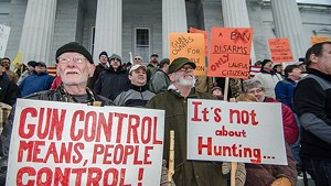 Gun rights supporters in front of the Vermont Statehouse