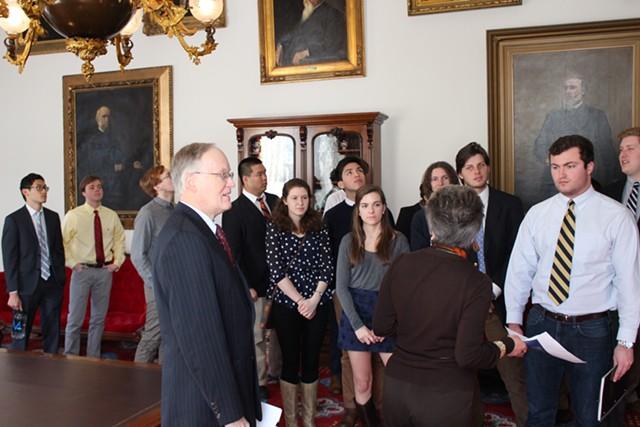 Former governor Jim Douglas in the governor's ceremonial office - PAUL HEINTZ