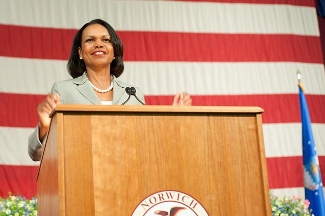 Former Secretary of State Condoleezza Rice speaks at Norwich University - NATALIE WILLIAMS
