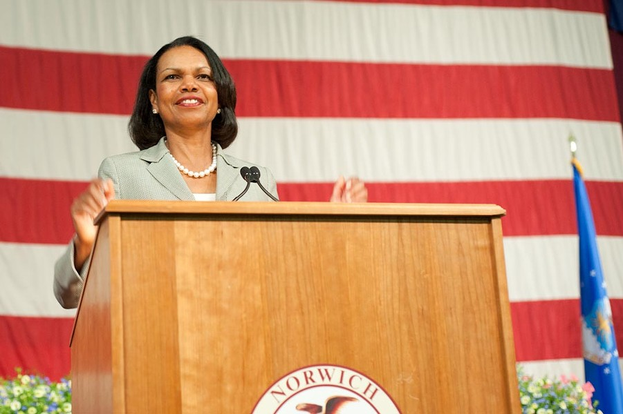 Former Secretary of State Condoleezza Rice speaks at Norwich University - NATALIE WILLIAMS