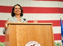 Rice speaks at Norwich Amid Protests
