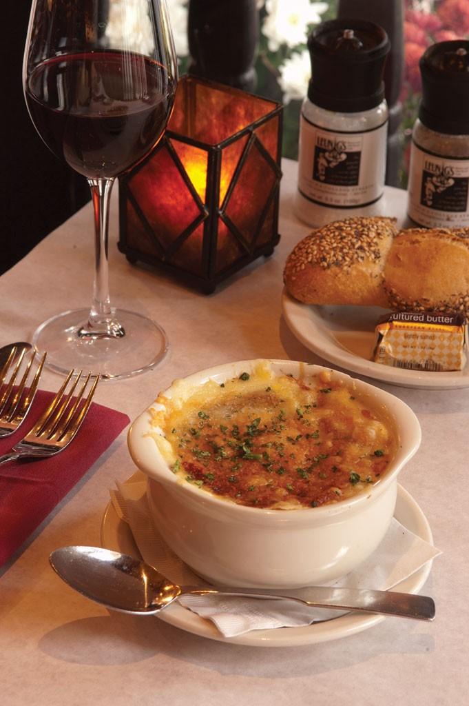 French onion soup at Leunig's Bistro and Café in Burlington