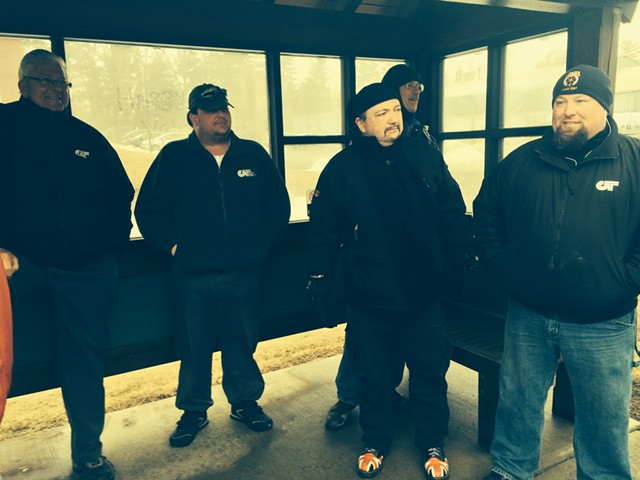 From left, CCTA drivers Dale Meigs, Dave McKenzie, Alain Hirsch, Tom Griffith, and Kevin Favreau  picketing outside CCTA headquarters. - MARK DAVIS