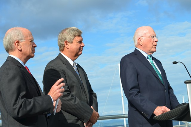 From left, Congressman Peter Welch, U.S. Agriculture Secretary Tom Vilsack and Senator Patrick Leahy at the ECHO Center in Burlington. - ALICIA FREESE