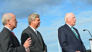 From left, Congressman Peter Welch, U.S. Agriculture Secretary Tom Vilsack and Senator Patrick Leahy at the ECHO Center in Burlington.