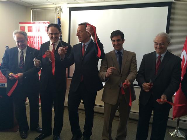 From left, FBI Special Agent Wayne Shuptrine, Eyup Sener, Gov. Peter Shumlin, Mayor Miro Weinberger, and Attorney General Bill Sorrell. - ALICIA FREESE