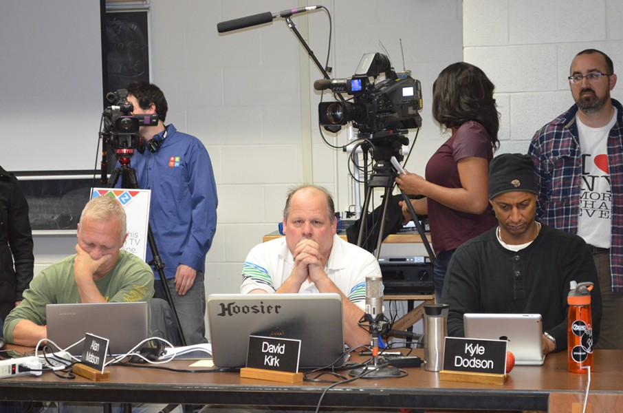 From left, school board members Alan Matson, David Kirk and Kyle Dodson consider a motion at Sunday's emergency meeting. - ALICIA FREESE