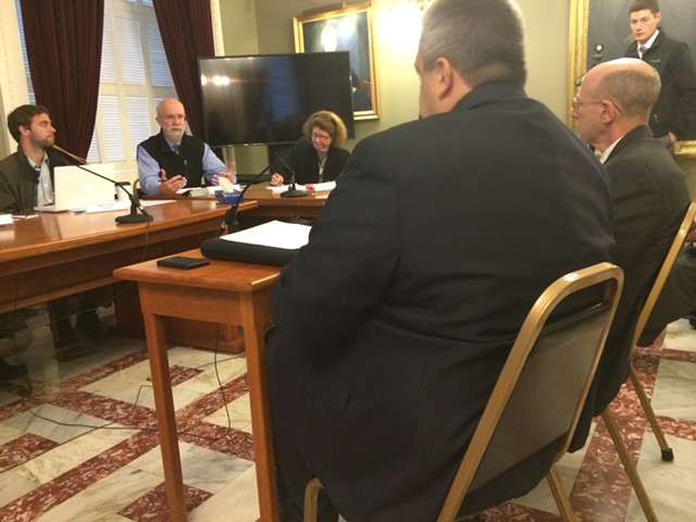 From left, Vermont Defender General Matthew Valerio and Vermont Prisoners' Rights Office supervising attorney Seth Lipschutz testify before the Joint Corrections Oversight Committee. - MARK DAVIS