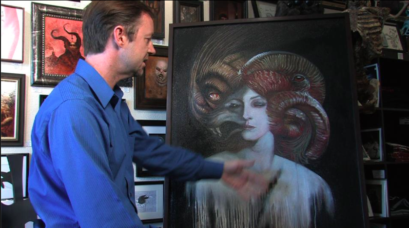 From Serial Killer Culture: David Van Gough with one of his Sharon Tate paintings.