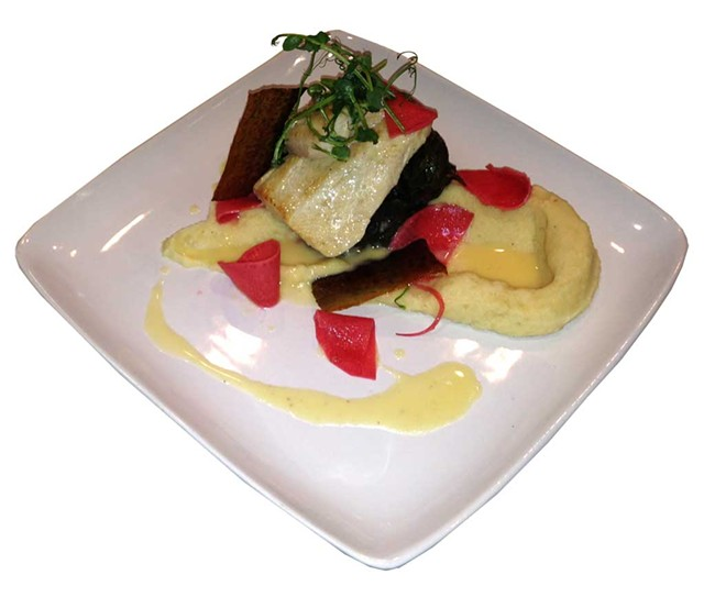 Gin-poached trout over parsnip purée