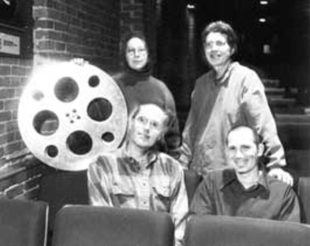 GMff Organizers Andrea Serota and Rick Winston (standing), and Chris Wood (seated, left) and projectionist Michael White. - ANDY DUBACK