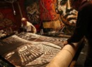 Goddard Unveils 200-Foot Woodcut Print During Art Crawl