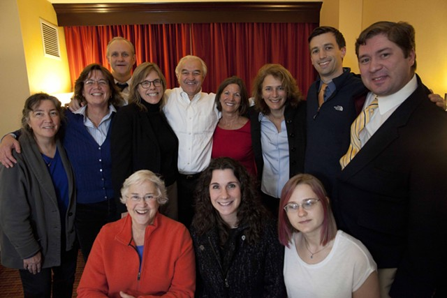 Attorney General Bill Sorrell (center) with supporters on Election Day 2014. - FILE: MATTHEW THORSEN
