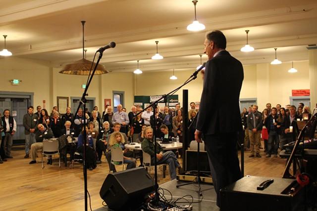 Gov. Peter Shumlin addresses a Democratic rally last Thursday at Barre's Old Labor Hall. - PAUL HEINTZ