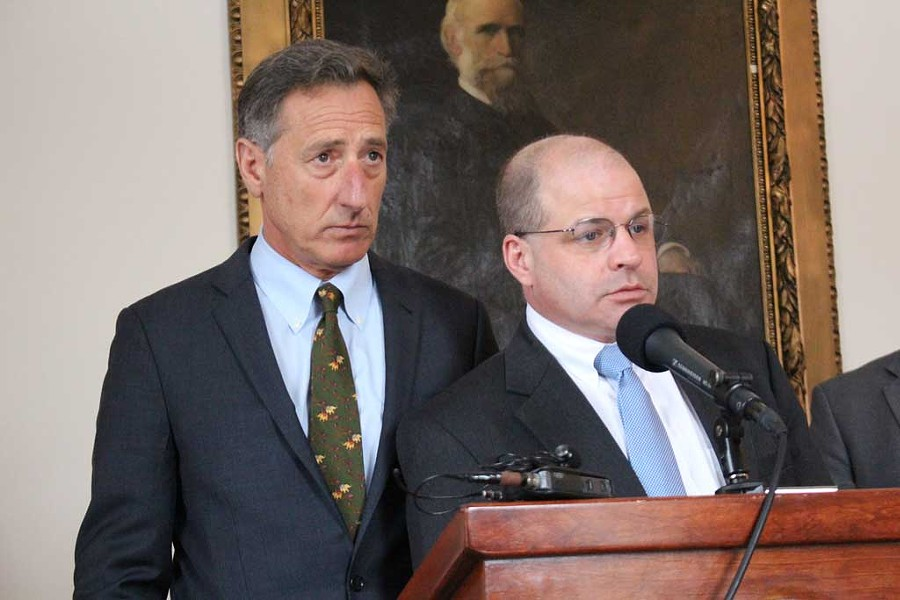 Gov. Peter Shumlin and Chief of Health Care Reform Lawrence Miller last Friday at the Statehouse - PAUL HEINTZ