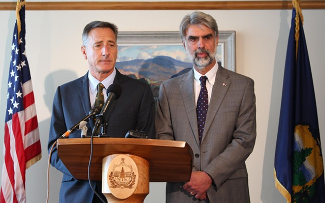Gov. Peter Shumlin and Secretary of Administration Jeb Spaulding - PAUL HEINTZ