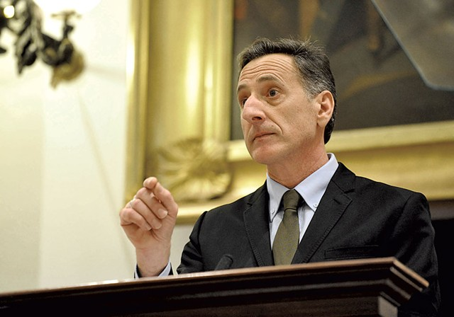 Gov. Peter Shumlin giving his State of the State address in 2014 - FILE: PAUL HEINTZ