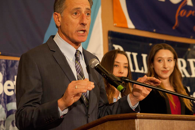 Gov. Peter Shumlin on Election Day in Burlington - MATTHEW THORSEN