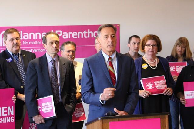 Gov. Peter Shumlin receiving Planned Parenthood of Northern New England's endorsement last Friday. - FILE: PAUL HEINTZ