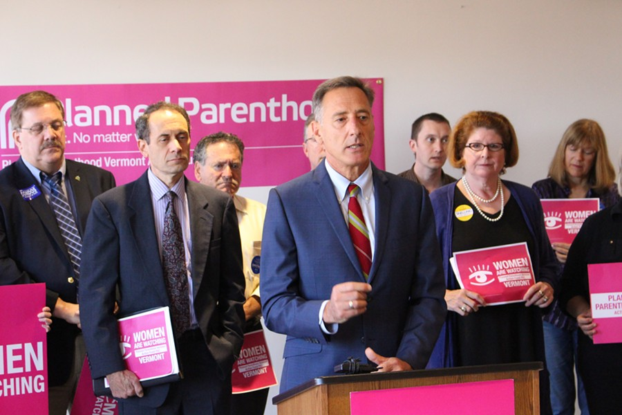 Gov. Peter Shumlin receiving Planned Parenthood of Northern New England's endorsement last Friday. - FILE: PAUL HEINTZ