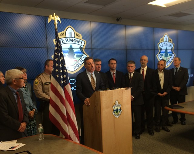 Gov. Peter Shumlin, with national drug czar Gil Kerlikowske at his right, announced plans to expand use of the opiate overdose-reversing drug naloxone during a morning press conference at the Department of Public Safety in Waterbury. - MARK DAVIS