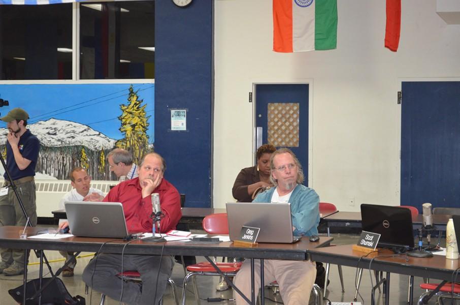 Greg Jenkins, right, at a recent board meeting. At left sits his ward-mate, David Kirk. - ALICIA FREESE
