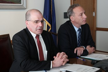 Chief of Health Care Reform Lawrence Miller and Department of Vermont Health Access Commissioner Steven Costantino - PAUL HEINTZ