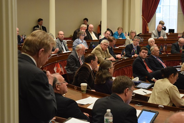 Rep. Butch Shaw (R-Pittsford) argues Wednesday against a bill that would require employers to provide paid sick leave. - TERRI HALLENBECK