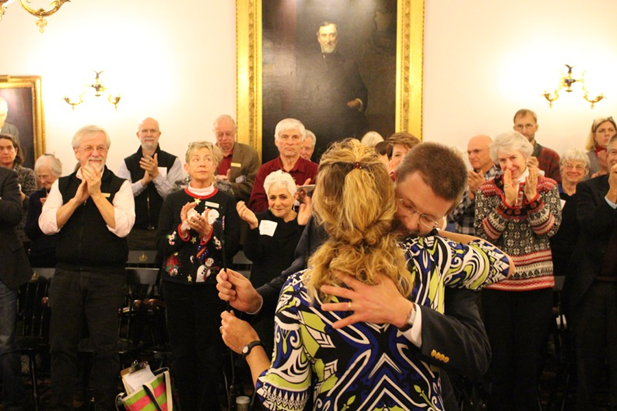 Rep. Sarah Copeland Hanzas embraces House Speaker Shap Smith - PAUL HEINTZ