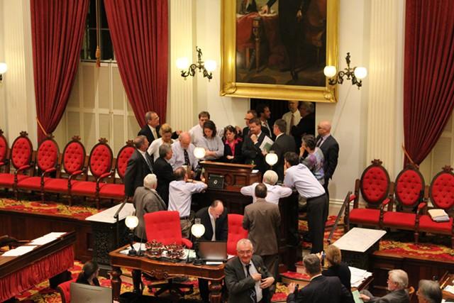 House leaders huddle after Minority Leader Don Turner calls debate into question - PAUL HEINTZ