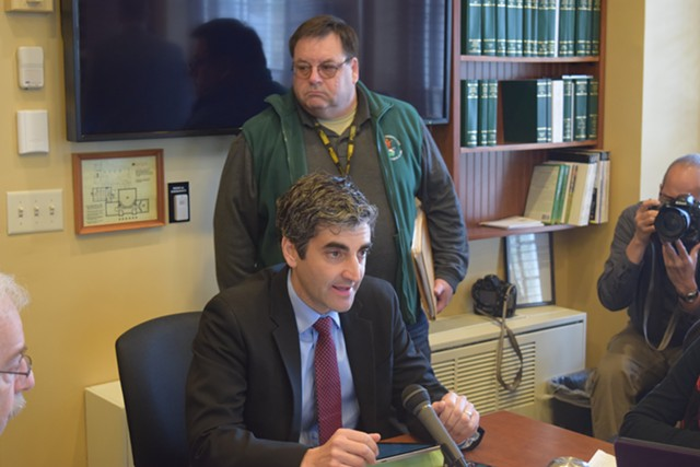 Burlington Mayor Miro Weinberger urges the House Government Operations Committee on Thursday to pass three gun restrictions that city voters backed. - TERRI HALLENBECK