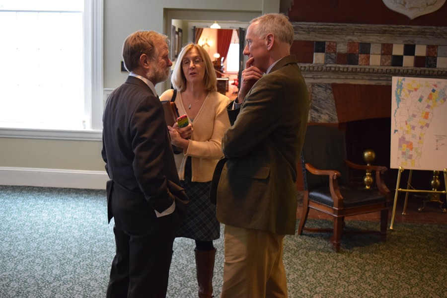 House Education Committee Chair Dave Sharpe (D-Bristol), left, talks with Vermont National Education Association  president Martha Allen and general counsel Jeff Fannon. - TERRI HALLENBECK
