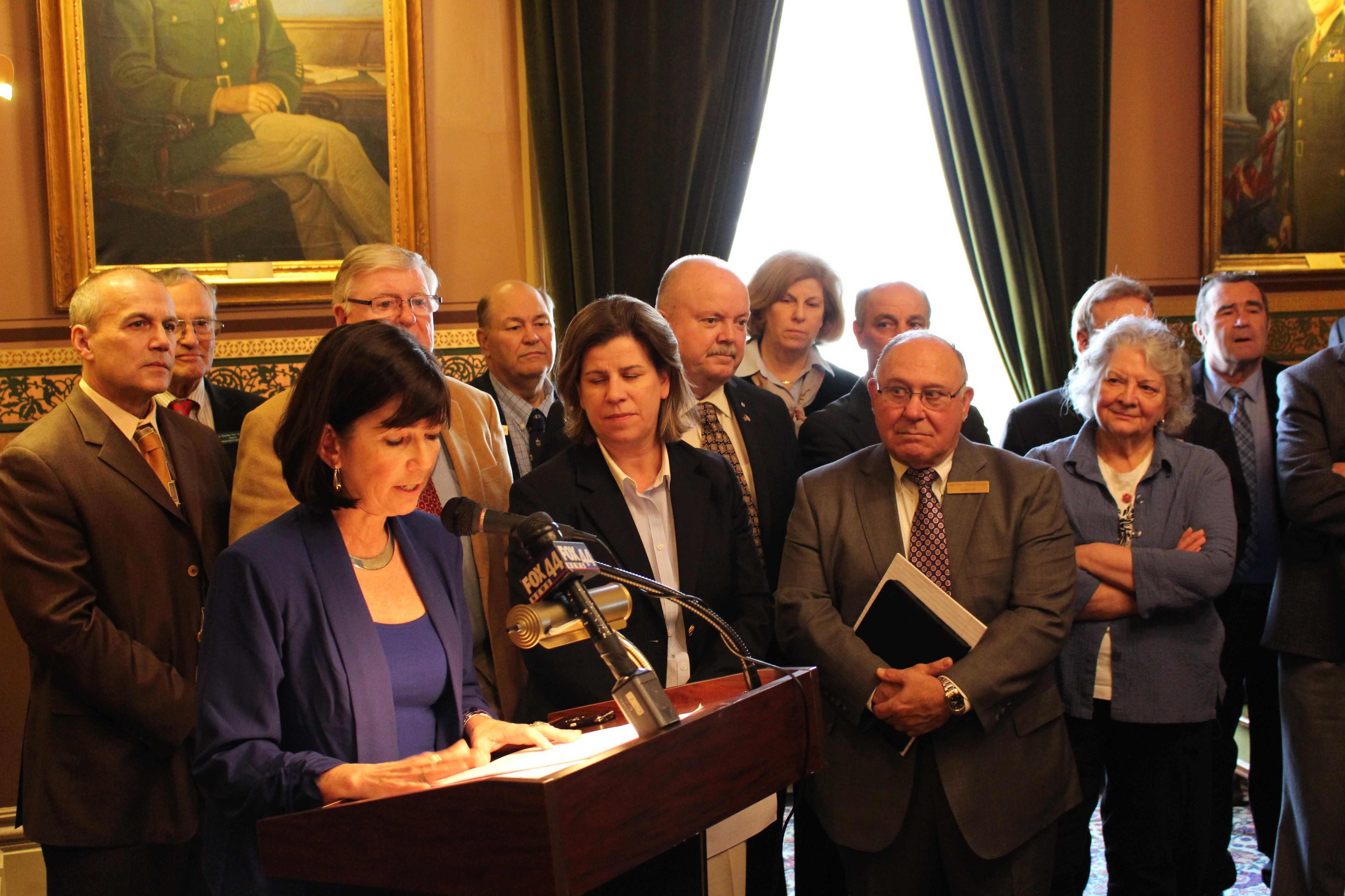 House Republicans at a Statehouse press conference in April - PAUL HEINTZ