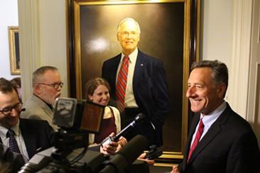 Gov. Peter Shumlin speaks with reporters Thursday at the Statehouse. - PAUL HEINTZ