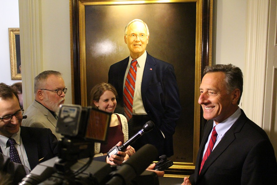 Gov. Peter Shumlin speaks with reporters Thursday at the Statehouse. - PAUL HEINTZ