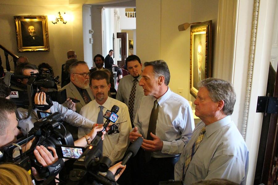 House Speaker Shap Smith, Gov. Peter Shumlin and Senate President Pro Tem John Campbell - PAUL HEINTZ