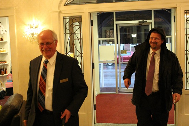 House Speaker Shap Smith (right) arrives at the Capitol Plaza. - PAUL HEINTZ