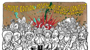 "Illustrator Ivan Klipstein's poster design for Theatre Kavanah's ""JPP Playwriting Contest — Maple Edition"" event"