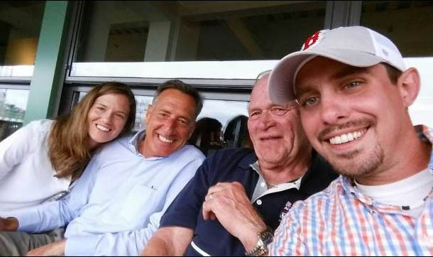 In this photo from Sen. Dick Sears' Facebook page, Katie Hunt, Gov. Peter Shumlin, Sears and John Murphy take in a Red Sox game at Fenway Park. - COURTESY: VTDIGGER