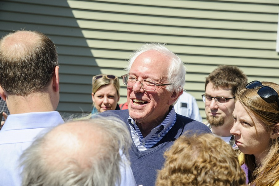 Sen. Bernie Sanders speaking to attendees at a campaign house party in Manchester, N.H. - ALAN MACRAE