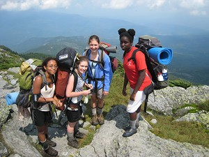 Indian Brook campers on a hike