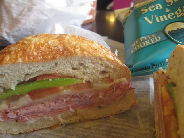 Italian sandwich on an Asiago bagel