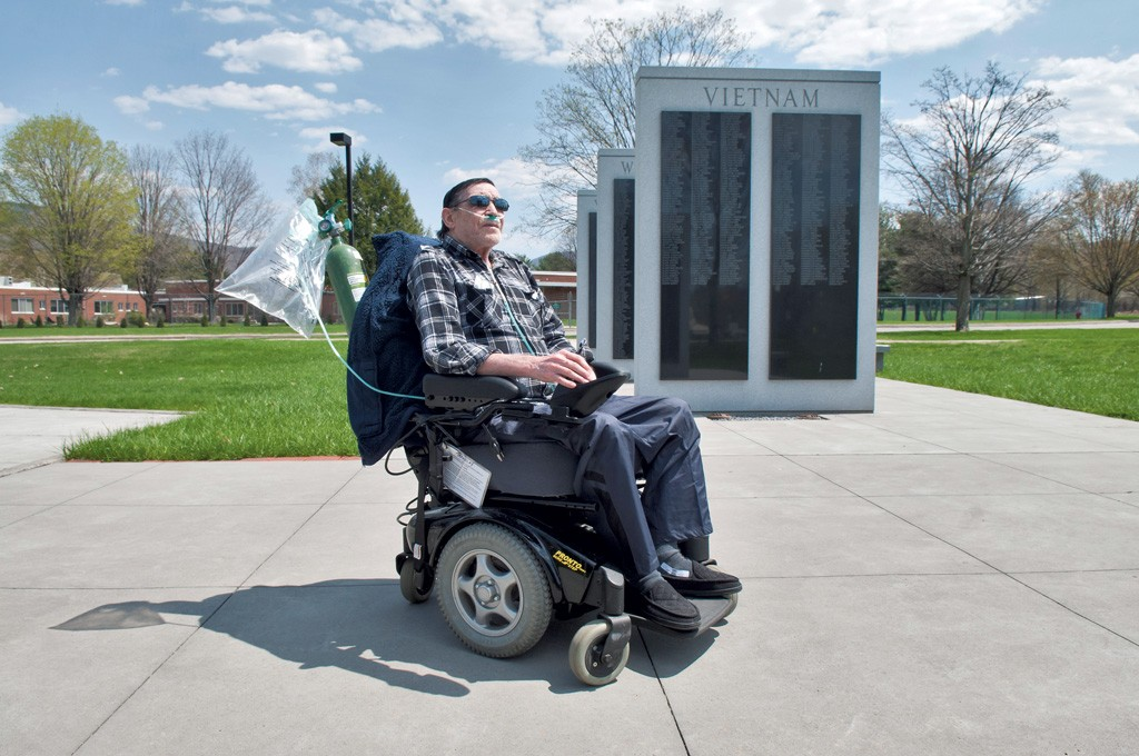 Jack Tremblay, aka the Candy Man, on the  grounds of the Vermont Veterans' Home - ZACHARY STEPHENS