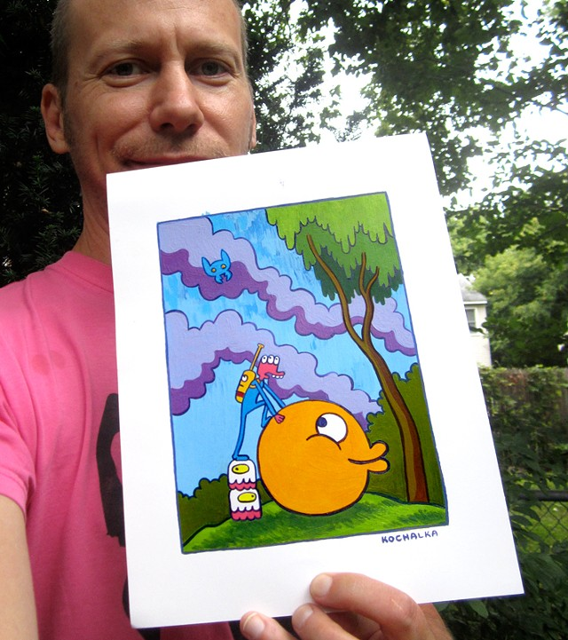 James Kochalka selfie with prize painting - COURTESY OF JAMES KOCHALKA