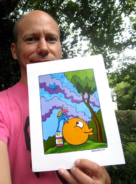 James Kochalka selfie with prize painting - COURTESY OF JAMES KOCHALKA