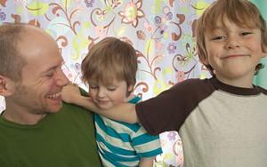 MATTHEW THORSEN - James Kochalka with his sons, Oliver and Eli