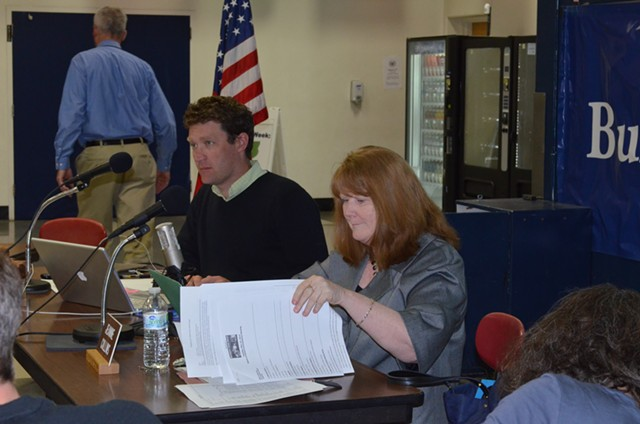 Jeanne Collins sits next to Burlington school board chair, Patrick Halladay at a recent meeting. - ALICIA FREESE