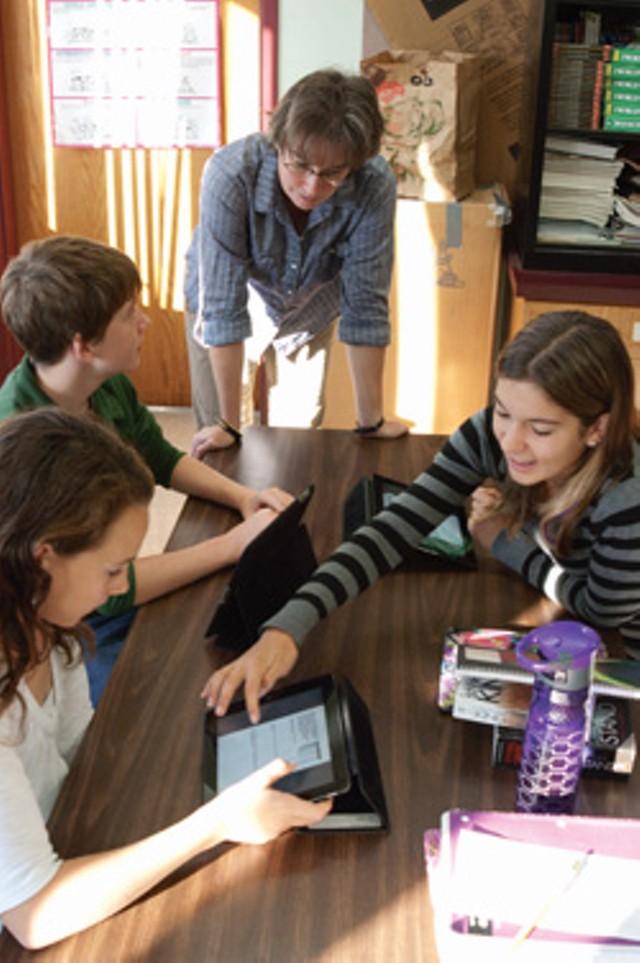 Jennifer Skerrett and students - MATTHEW THORSEN