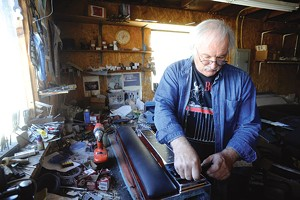 JEB WALLACE-BRODEUR - Jerry Fessenden builds a pedal steel guitar in his Montpelier workshop
